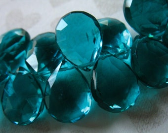 BLUE QUARTZ Pear Briolettes Beads / 2-20 pcs / Apatite Blue Green / 11.5-13+ mm / brides bridal something blue hydqtz28 solo bsc