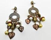 Vintage Earrings, Boho Jewelry, Earrings, Mixed Metal, Big Earrings, Statement Jewelry, Heart Charms, Gypsy Earrings, Hippie Ethnic, Triba;