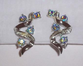 Vintage Coro Earrings with Blue Aurora Borealis Stones - Clip Ons