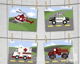 Set of 4 Boys Bedroom Rescue Hero Transportation ART PRINTS - Helicopter, Ambulance, Firetruck, and Police Car