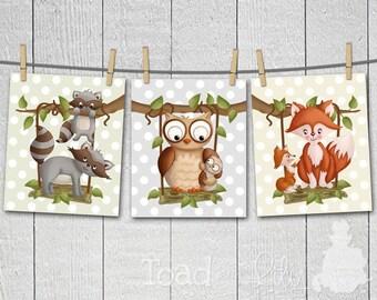 Set of 3 Forest Woodland Critters on Swings Polka Dots Girls Boys Gender Neutral Bedroom Baby Nursery 8 x 10 ART PRINTS