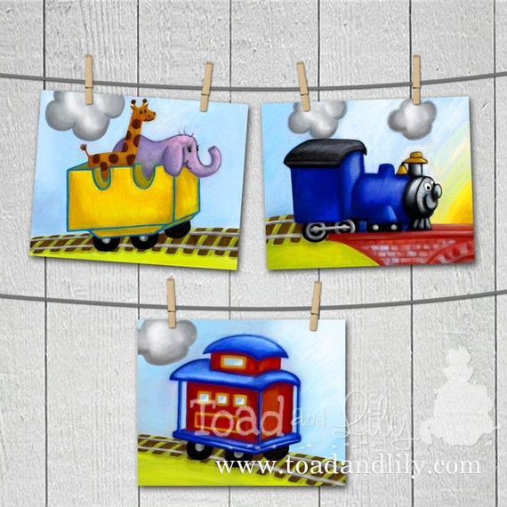 Choo CHOO Little Animal Train Boys Bedroom Baby Nursery 8 x 10 Wall Art Prints