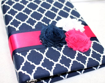 GUEST Book, BABY Shower, Advice Book, Navy and Hot Pink, Navy Blue and White Quatrefoil, Custom Colors