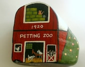 FREE SHIPPING USA-painted rock-1920 red barn-farmhouse chic-doorstop-unique ooak fine art-Americana painting-country chic decor-petting zoo