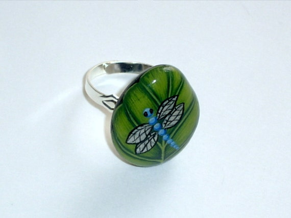 Summer birthday gift idea for her under 30-Blue Dragonfly on Leaf-stone jewelry-adjustable silver botanic ring-unique 3D art-painted rock