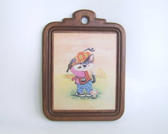 Vintage Golfing Cat & Mouse Wood Plaque Golf Decor Man Cave