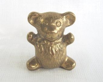 Vintage Brass Bear, Brass Teddy Bear, Brass Figurine, Brass Animal, Collectible Teddy, Collectible Bear, Nursery Decor, Brass Paperweight