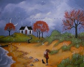 Face To The Wind a small Autumn Lake  Beach Print by Deborah Gregg
