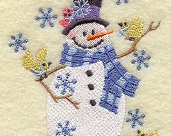 Embroidered Snowman and Birds Flour Sack Towel / Hand Towel / Bath Towel / Apron / Christmas Stocking