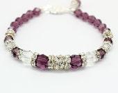 Amethyst Eggplant Bracelet Swarovski Crystals Rhinestone Silver Purple Bridal Wedding Jewelry Bridesmaids Prom