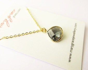 CLEARANCE - Translucent Faceted Teardrop Grey Glass Jewel Pendant Necklace , gold chain