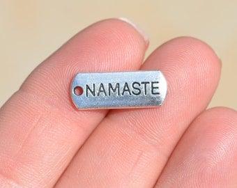 10 Silver Namaste Yoga Charms SC2754