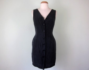 black washed silk dress button front mini sleeveless sheath
