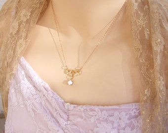 Bridal Necklace, Pearl Necklace, Gold  Necklace, Wedding Jewelry, Romantic, Vintage Style Necklace