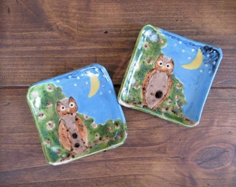 Set of 2 Owl Dishes, Ring Dish, Soap Dish, handmade earthenware pottery, owl, ring dish, Nana Gift, Godmother gift, engagement