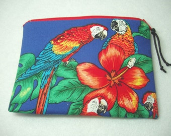 Zipper Cosmetic Pouch Gadget Case Coin Purse in Deep Purple Macaw Parrot Print
