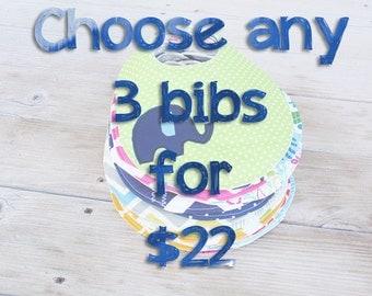 Choose any 3 baby bibs or bibdanas