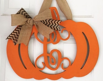 Unfinished Wood Pumpkin Thanksgiving Porch - Door Hanger - fall decor -Vine Monogram in 17.5 x 22 inch