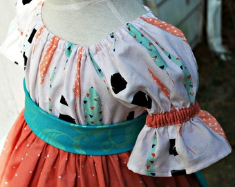 Girls peasant dress autumn peach aqua feathers ruffled with lace edge