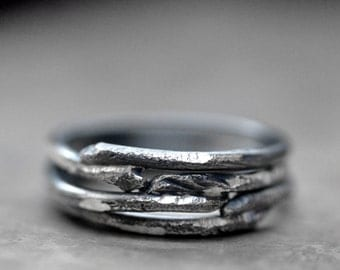 Stacking rings 'Root System' - carded sterling silver set