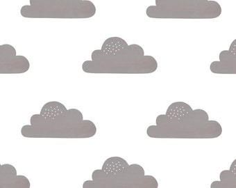 Fabric Wall Decal - Clouds (Grey) (reusable) NO PVC