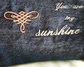 You Are My Sunshine Bag.Black  Denim Pouch Bag. make-up bag.back to school case