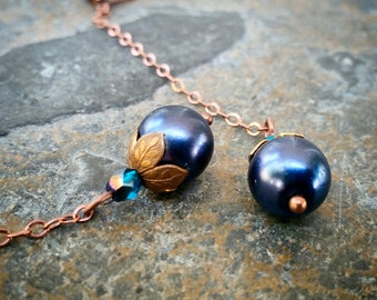 Blueberry glass pearl copper long dangle earrings