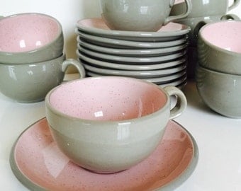 Harkerware pink and grey stoneware, cups and saucers, Harkerware dishes -pink and grey -speckled Harkerware