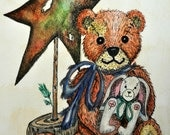 Six blank note cards of vintage teddy bear with a vintage rabbit, printed on recycled card stock and recycled envelopes