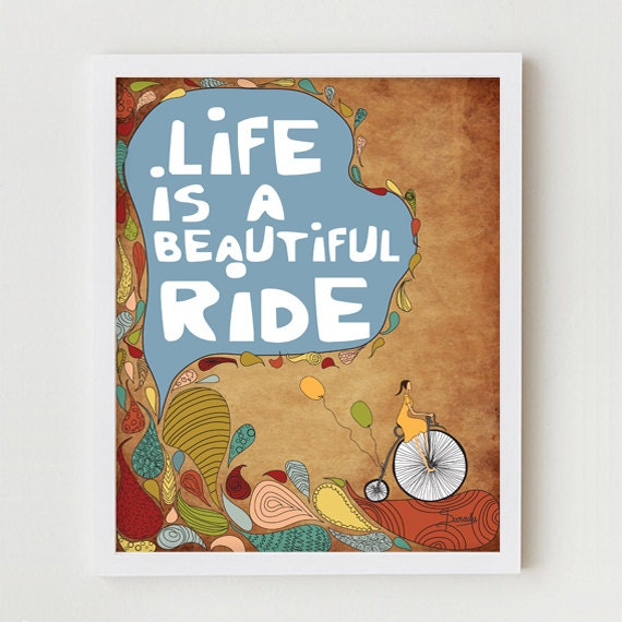 Typographic Print, Typography Giclee Print, Bicycle Poster, Inspirational Giclee Print, Antique Bicycle, Inspirational Vintage Bike Decor