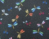 2618D -- Dragonfly Fabric in Black, Insect Fabric