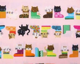 2626B -- Kawaii Kitty in Boots Fabric in Pink, Animal Fabric, Polka Dots, Pets, Cat Fabric