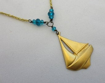 Brass Sailboat Necklace