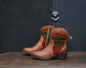 Vintage Leather and Woven Boots Southwest Style Born Brand Womens US Size 7 From Nowvintage on Etsy