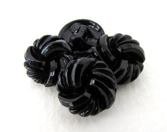 Czech Buttons Jet Black Glass Shank Swirl Knotted Spiral 14mm but0292 (4)