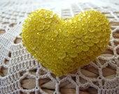 Bright Yellow Heart Shaped Felt Pin