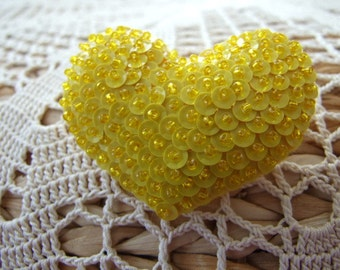 Bright Yellow Heart Shaped Felt Pin
