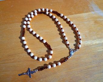 Catholic Rosary Five Decades White and Brown Glass Beads with Silver Tone Crucifix