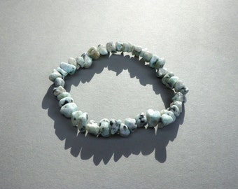 Bracelet Sesame Jasper Gemstone Chip Beads on Elastic Cord in 3 Sizes, Spotted Jasper, Stress Relief Stone, Aries, Leo, Virgo, Stretch