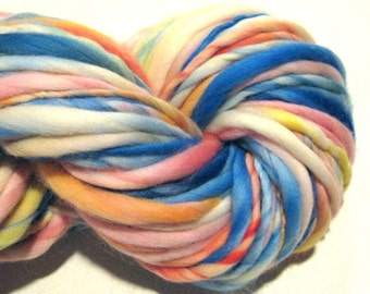 Handspun Yarn Watercolors 98 yards hand dyed merino wool pastel yarn waldorf doll hair knitting supplies crochet supplies