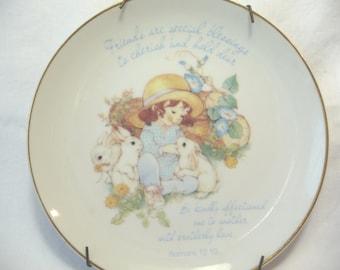vintage Plate, collectible Plate, Gentle Hearts, Lasting Memories, vintage 1983, Fine Porcelain, metal Plate Holder, Bible Verse, Religious