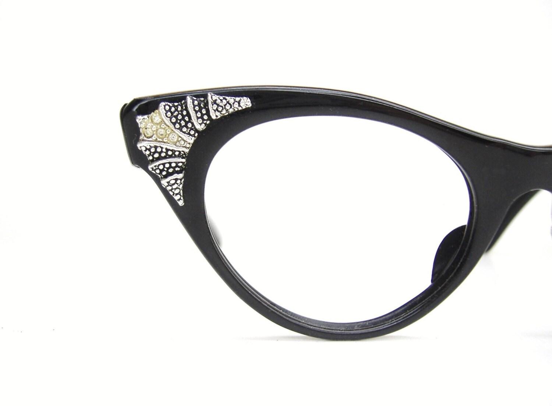 vintage 50s black cat eye glasses eyeglasses or sunglasses
