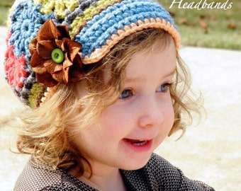 Flower Patch Work Field Trip Crochet Brimmed Slouchy Newsboy Beanie Hat Girls