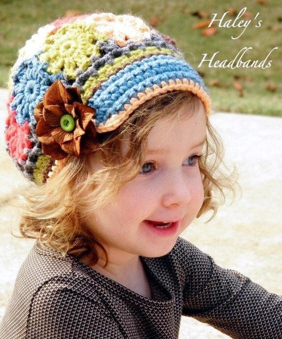 Flower Patch Work Field Trip Crochet Brimmed Slouchy Newsboy Beanie Hat Girls