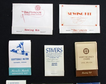 10 Vintage Hotel Matchbook Style Sewing Kits for Mending / Instant Collection / FREE SHIPPING