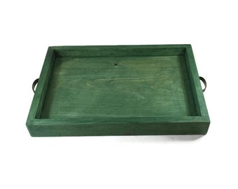 Green Serving Tray - Home Decor - Custom Wood Trays