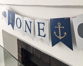 Nautical ONE Banner - First Birthday Party Banner 1st Anchors and Whales