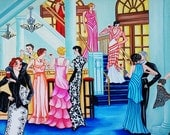 Signed Art Print, by k Madison Moore, Fashion Show, Formal Gowns, Big Windows, Formal Wear, Women on Staircase