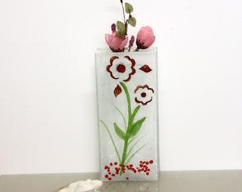 Fused glass vase - Red Flower