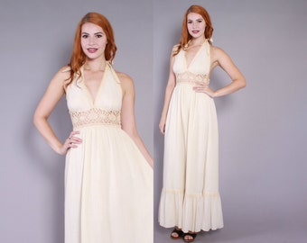 70s GAUZE Halter DRESS / 1970s Boho Gunne Sax Ivory Cotton Sheer Crochet Backless Maxi Dress xs